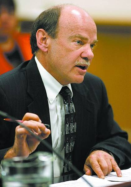 Cathleen Allison/Nevada Appeal Nevada schools chief Keith Rheault testifies at the Legislature on Monday. Lawmakers considered several budgeting bills on Monday, ranging from education to prisons.