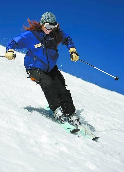 Chad Lundquist/Nevada Appeal Carson Ski Team Coach Adrienne Garbiel takes a run down Eagle Bowl at Kirkwood on Sunday.