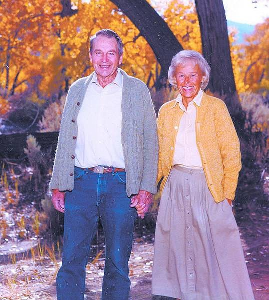 Photo by Jay Aldrich/For the Nevada Appeal JohnD and Kay Winters along the Carson River in fall 2003. JohnD,a fourth-generation Nevada rancher, died Friday. The couple married Dec. 29, 1948, lived on their Ophir Mill Ranch in Dayton.