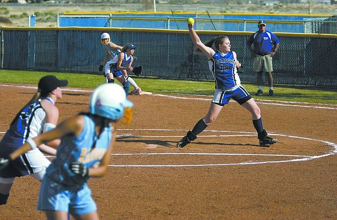 Cathleen Allison/Nevada Appeal Carson's Cassie Vondrak pitches against Reed at CHS on Tuesday. Carson lost 7-5.