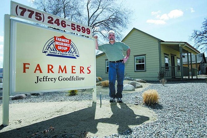 Chad Lundquist/Nevada Appeal Jeffrey Goodfellow owner of Farmers Insurance in Dayton on March 25.