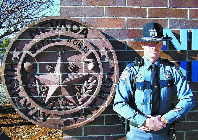 Photo courtesy of Trooper Scott Simon Trooper Chuck Allen, public relations coordinator for Northern Command of the Nevada Highway Patrol and a 15-year veteran of the patrol, offers advice on traveling state roadways.