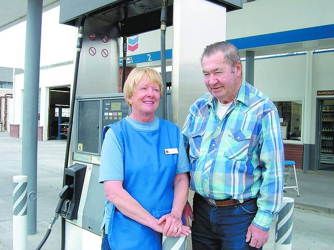 Mary Jean Kelso/Appeal News Service On Saturday, Kris and Marlon Hanneman celebrated 50 years as owners of the Chevron station on Main Street in Fernley.