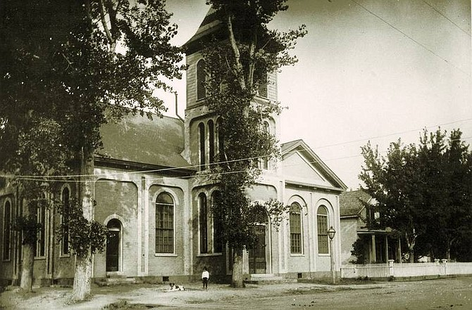 Nevada State Library and Archives photo This photo of the Carson City First Presbyterian Church was taken in 1899. The church, for which Mark Twain raised money, was to be torn down to make way for a new one. The city has since taken over the historic structure's fate and allowed the congregation to build a new sanctuary. Specifics of the city's plans for restoring the church and its uses thereafter have not been finalized.