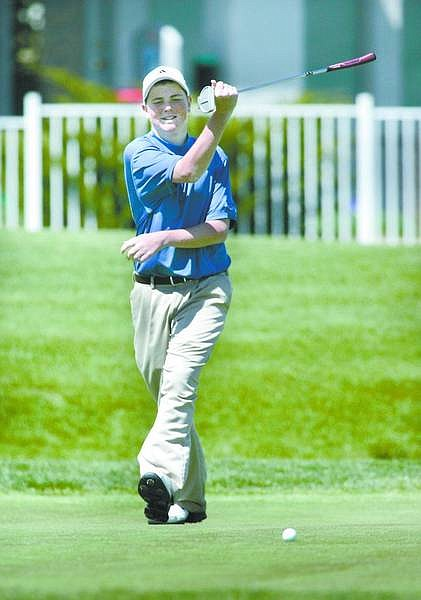 Cathleen Allison/Nevada AppealCarson's Jonathan Singer reacts to a missed putt on the 11th hole at Silver Oak Golf Course on Thursday during the Carson High School Invitational.