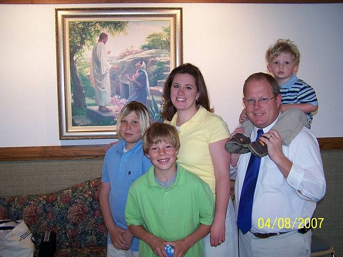Submitted Photo Grahame Ross, right, stands with his wife, Sara, and three boys, from left, Zach, Nick and Liam. Ross celebrated 10 years of sobriety on April 16.