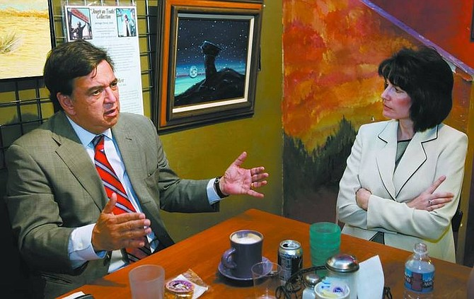 Bill Richardson speaks with    Nevada Attorney General Catherine Cortez Masto at Comma Coffee   during a campaign stop     Monday.