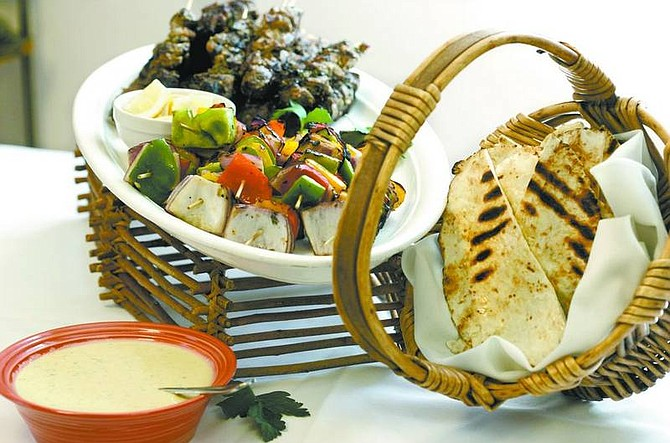 Cathleen Allison/Nevada Appeal Molly Gingell's shish kebabs with garlicky tahini sauce.
