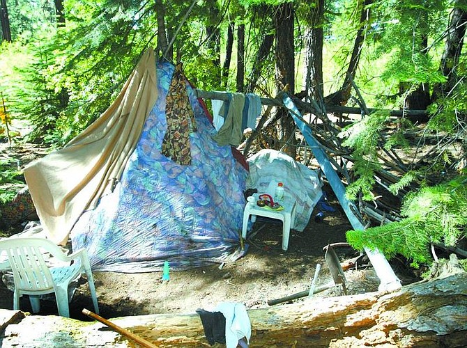 Jim Grant /Nevada Appeal News Service An illegal campsite was set up in the forest near Stateline. Officials worry that campfires of the homeless could start a wildfire.