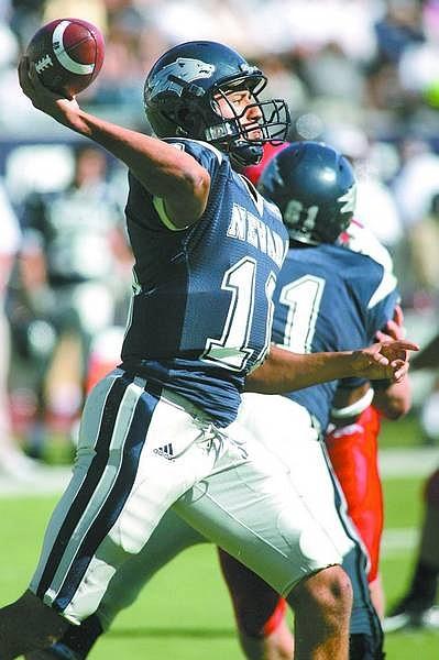 Cathleen Allison/Nevada Appeal file photo Colin Kaepernick throws against Fresno State earlier this season.