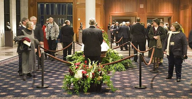 Photo provided to the Associated PressIn this photo released by The Church of Jesus Christ of Latter-day Saints, church employees pay their respects to Gordon B. Hinckley, president of Mormon church on Thursday in Salt Lake City. Hinckley died Sunday. He was 97.