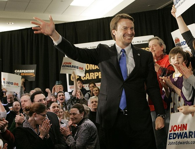 Democratic presidential hopeful and former Sen. John Edwards, D-N.C., campaigns at the carpenters' union hall Tuesday, Jan. 29, 2008, in St. Paul, Minn.  (AP Photo/Jim Mone)