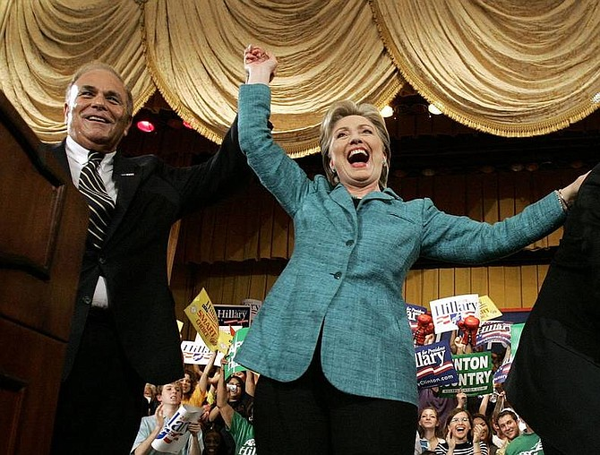 Elise Amendola/Associated PRess  Democratic presidential hopeful Sen. Hillary Rodham Clinton, D-N.Y., celebrates with Pennsylvania Gov. Ed Rendell at her Pennsylvania primary election night party in Philadelphia on Tuesday.