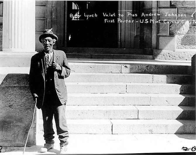 Photo courtesy of Nevada Historical Society Billie Lynch stands in front of the Arlington Hotel. The Arlington was right across the street from the U.S. Mint in Carson City.