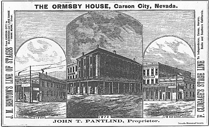 Nevada Historical Society A postcard featuring the Ormsby House is pictured. The house was widely known throughout the region in the 1870s.