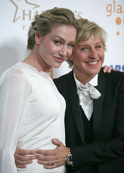 *** FILE *** In this 2008 file photo actress Portia de Rossi, left, and television personality Ellen DeGeneres arrive at the 19th Annual GLAAD Media Awards on Saturday, April 26, 2008, in the Hollywood section of Los Angeles. DeGeneres is putting the state Supreme Court ruling in favor of gay marriage into action _ she and actress Portia de Rossi plan to wed, DeGeneres announced during a taping of her talk show Thursday May 15, 2008. (AP Photo/Chris Weeks, FILE)