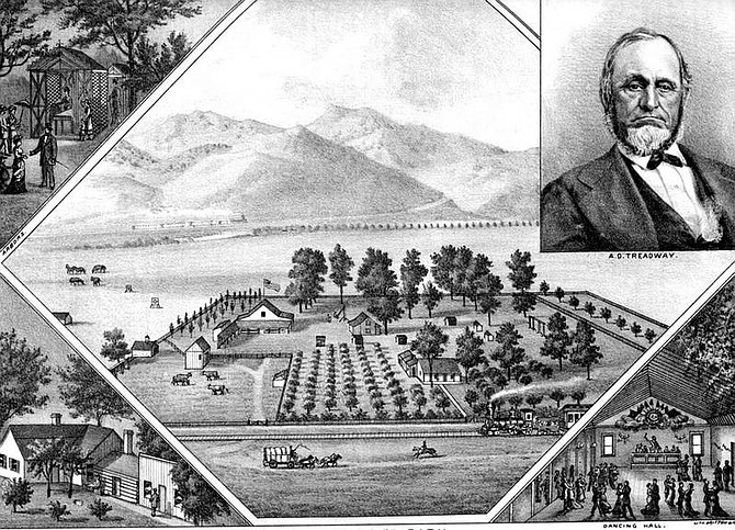 Myron Angels' History of Nevada 1881 A sketch of Aaron D. Treadway and his park with the V & T going past.