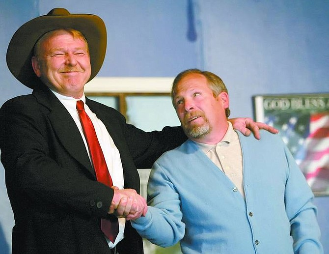 """Amy Lisenbe/Nevada Appeal Mark McGyver, as Senator Bragbart, left, and Dan Rice, as Bureaucrat Wilkins, right, rehearse a scene from """"To Drill or Not To Drill, Or Big Bucks Don't Always Win."""""""