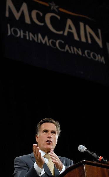 Kevin Clifford/Nevada Appeal Former GOP presidential candidate Mitt Romney talks to the Nevada State Republican Convention about the war in Iraq on behalf of Republican presidential candidate Sen. John McCain, R-Ariz., at the Peppermill Resort/Casino on Saturday in Reno.