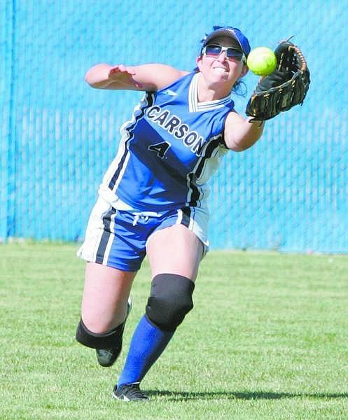 BRAD HORN/Nevada Appeal Carson centerfielder Katie McEwan makes a catch against a Reno hitter during their game in Carson Thursday.