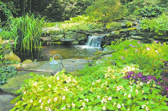 Photos by Ken Spencer/Newsday The garden of Dr. Stephen Cuchel of Roslyn Harbor, seen in the two photos above, was featured in Garden Home Magazine. LEFT: The stream and waterfalls was constructed by Ed Drohan in his back yard in Sag Harbor. The waterfall starts way up on the hill in the woods behind his house, and looks as if has been there forever.