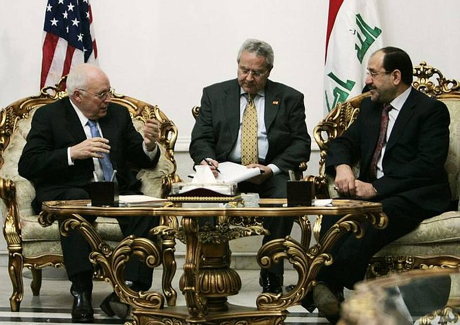 AP Photo/Ceerwan Aziz, PoolU.S. Vice President Dick Cheney, left, meets with Iraqi Prime Minister Nouri al-Maliki, right, in Baghdad, Iraq, Monday, March 17, 2008. It is Cheney's third vice presidential trip to Iraq, where 160,000 American troops are deployed and the U.S. death toll is nearing 4,000.