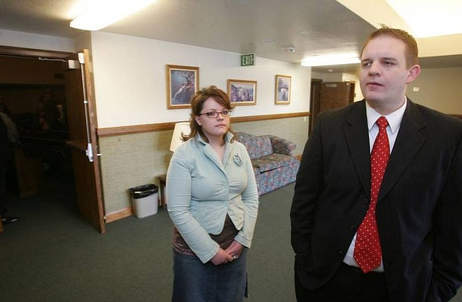 BRAD HORN/Nevada AppealMike Fontano and Liana Starks discuss the influence the late Gordon B. Hinckley had on their lives while waiting to watch the broadcast of his funeral service at the Carson City stakecenter on Saturday.