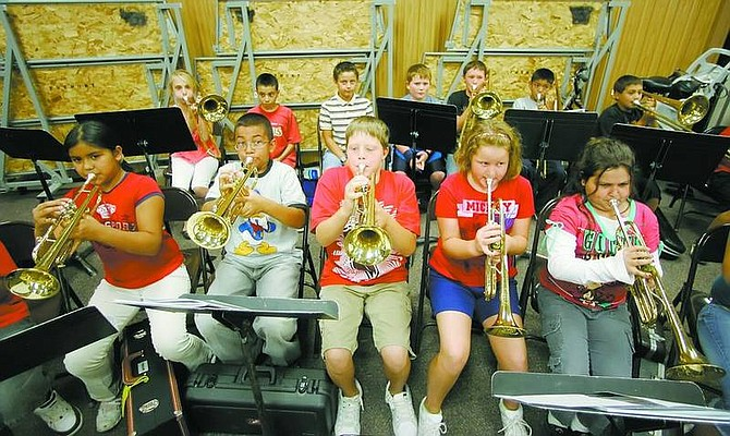 BRAD HORN/Nevada Appeal Sandy Irvin's 5th-grade band class rehearses at noon at Fremont Elementary School on Thursday.