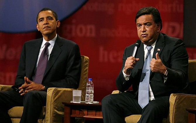"""AP File Photo/Charlie NeibergallNew Mexico Gov. Bill Richardson, right, speaks during the Brown & Black Forum as fellow hopeful, Sen. Barack Obama, D-Ill., looks on in this file photo. New Mexico Gov. Bill Richardson, the nation's only Hispanic governor, is endorsing Sen. Barack Obama for president, calling him a """"once-in-a- lifetime leader"""" who can unite the nation and restore America's international leadership. Richardson, who dropped out of the Democratic race in January, is to appear with Obama today at a campaign event in Portland, Ore., The Associated Press has learned."""