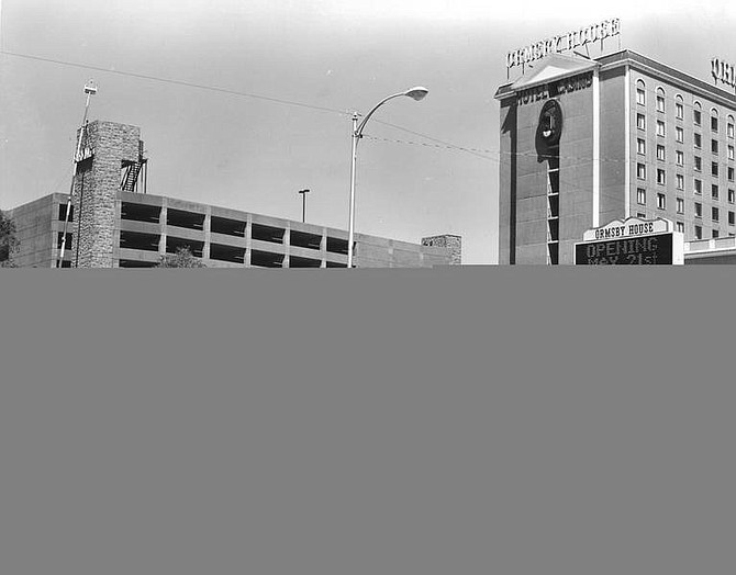 Photo courtesy of the Nevada State Museum. Construction of the parking garage in 1986.