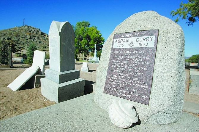 BRAD HORN/Nevada Appeal Abram Curry's gravesite sits in section W-1-E of the Lone Mountain Cemetery.