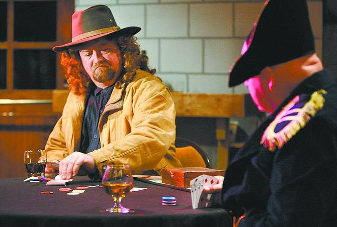 "Cathleen Allison/Nevada AppealEddie Hult, as Wild Bill Hickock, and John Peters, as Napoleon, rehearse Wednesday night for ""Tombmates"" at the Dayton Valley Country Club."