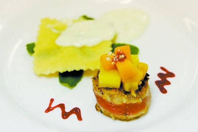 Photos by BRAD HORN/Nevada Appeal Carson High School culinary team's appetizer is Macadamia Crusted Ahi Tuna with Mint Ravioli.