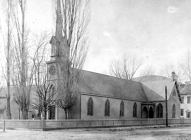 Charles Lynch album/Special Collections,University of Nevada  St. Peter's Episcopal Church is seen in this photo. The picture is dated around 1903.
