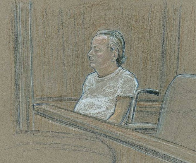 David Stroud/Las Vegas Review-Journal In this April 16 file courtroom sketch, Roger Bergendorff appears in federal court in a wheelchair in Las Vegas.  The man, suspected to have been poisoned by ricin found later in his hotel room, was indicted Tuesday on federal charges that include possession of a biological toxin.
