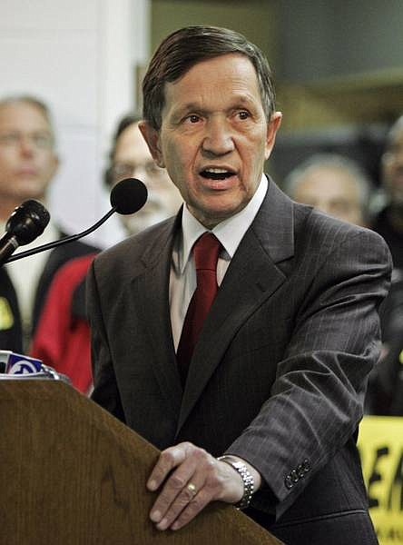 Mark Duncan/Associated Press U.S. Rep. Dennis Kucinich announces he will seek re-election to Congress at the Laborers International Union hall in Cleveland in this Jan. 9 file photo. Kucinich plans to announce today, Friday, he will abandon his campaign for the Democratic Presidential nomination to concentrate on his 10th Ohio Congressional run.
