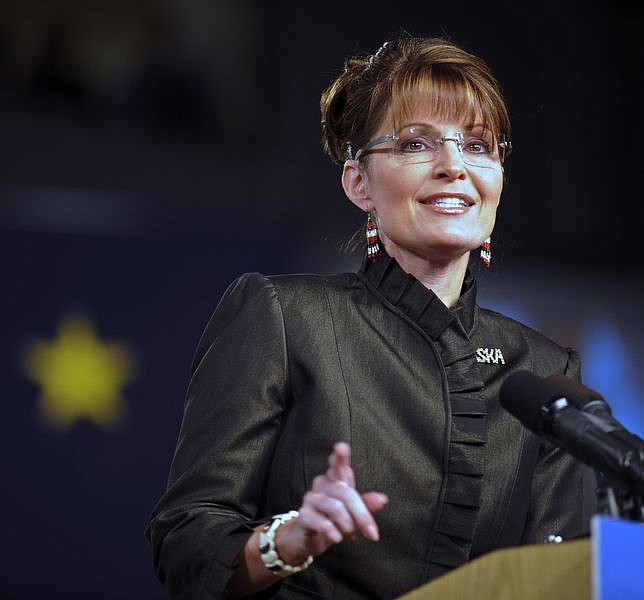 Republican vice presidential candidate, Alaska Gov. Sarah Palin, talks about her running mate, Republican presidential candidate, Sen. John McCain, R-Ariz., at the Dena'INA Civic and Convention Center Saturday, Sept. 13, 2008 in Anchorage, Alaska.   (AP Photo/Matt Hage)