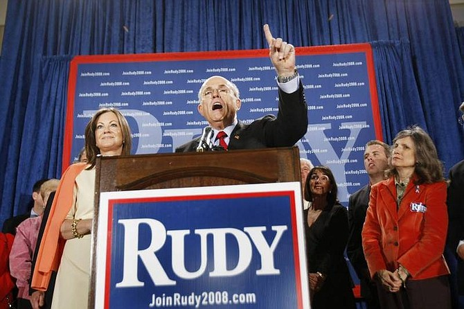 AP Photo/Gerald HerbertRepublican presidential hopeful, former New York City Mayor Rudy Giuliani, talks to supporters after conceding the Florida Republican primary at his election watch headquarters in Orlando, Fla., Tuesday.  Left is his wife Judith.