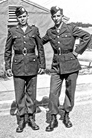 Courtesy photo Richard Daigle, right, is seen at parachute jump school in Toccoa, Ga. Of note, paratroopers tucked their pants in their boots.