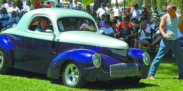 "Photo courtesy of Ronni HannimanSilver Dollar Car Classic 2007 participants Tim and Judy Akimoto of Watsonville, Calif., won the ""Most Likely to get Busted"" category with their 1941 Willys Coupe, seen above."