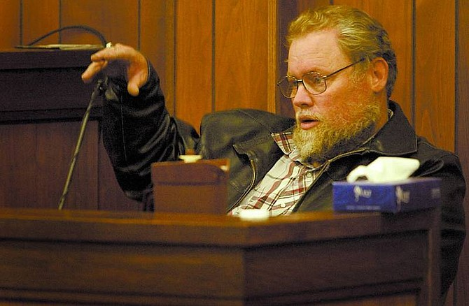 Shannon Litz/Nevada Appeal News Service Daniel Linn testifies on Friday in Judge Dave Gamble's courtroom as to where he found Robin Bodden's body.