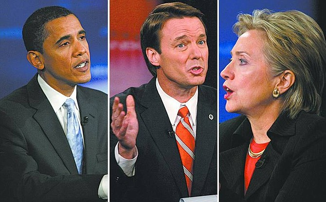 Photos by Jae C. Hong/Associated Press Presidential candidates, from left, Barack Obama, John Edwards and Hillary Rodham Clinton are in a statistical dead heat before Saturday's caucuses, according to polling in Las Vegas.