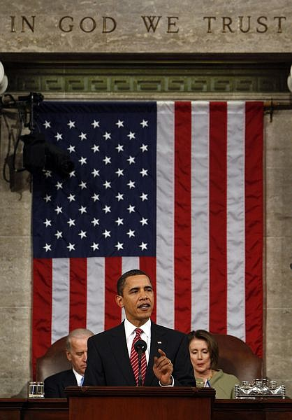 President Barack Obama addresses a joint session of Congress in the House Chamber of the Capitol in Washington , Tuesday, Feb. 24, 2009. (AP Photo/Pablo Martinez Monsivais, Pool)