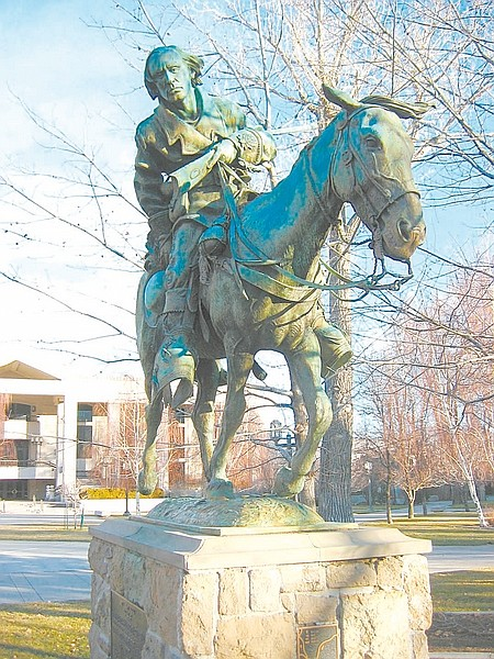 Courtesy Richard MorenoThis statue of explorer Kit Carson is one of Carson City's impressive bronze monuments to thepeople who contributed to the state's development.