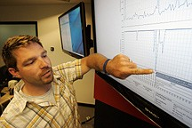 Shawn White, Director of External Operations for mobile and Web site monitoring company Keynote Systems, points to a graph of the Department of Defense Web site performance, top graph, and availability, lower graph, at the company's headquarters in San Mateo, Calif., Wedesday, July 8, 2009.  This graph shows very poor availability and performance of the DOD Web site on July 6, 2009. (AP Photo/Paul Sakuma)