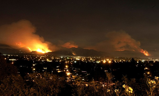 The Station fire burns in the Angeles National Forest near Los Angeles on Saturday, Aug. 29, 2009.(AP Photo/Dan Steinberg)