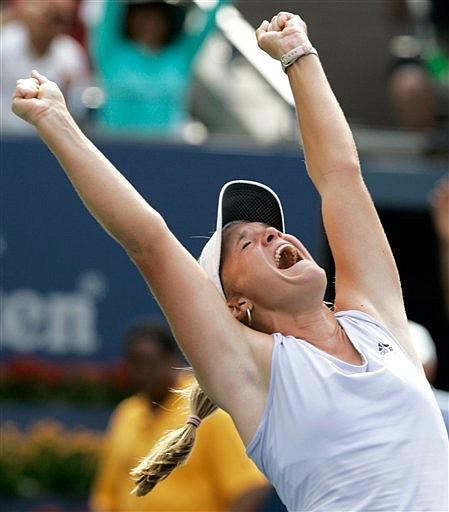 Melanie Oudin of the United States celebrates her 1-6, 7-6(2), 6-3 upset victory over Nadia Petrova of Russia at the U.S. Open tennis tournament in New York, Monday, Sept. 7, 2009. (AP Photo/Jeff Christensen)