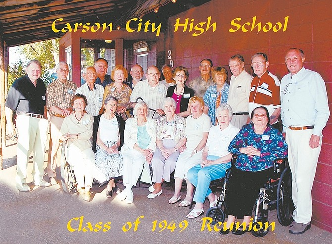 Courtesy photoMembers of the Carson High School Class of 1949 got together for their 60th reunion this summer. In the back row, from left: Ron Lyman, Joe Pieretti, Ken McCray, Bill Awbrey, Patricia McLeod Lording, Ted Miller, Herb Gillie, Ralph Grinnell, Betty Ann Walker Service, Bill Warren, Debra Bible Bandini, Arnold Roy Odermatt, Ken Robbins and Giles Altenburg. Front row from left: Mary Cameron McDonald, Alice Kean Whitaker, Barbara Billings House, Doris Stirman Day, Beverly Stirman Davis, Catherine Baxter Mathiesen and Rosalin Marin Carvin.