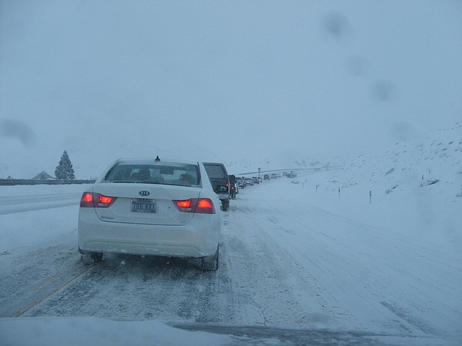 Traffic this morning was slow going up Dayton Hill into Mound House.