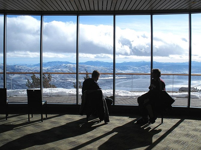 Sam Bauman/For the Nevada AppealTwo skiers take a break from the slopes in the new Winters Creek Lodge at the east Slide Mountain side of Mt. Rose ski resort. The new lodge opened Monday. Excellent views of Washoe Valley are offered from the new lodge.